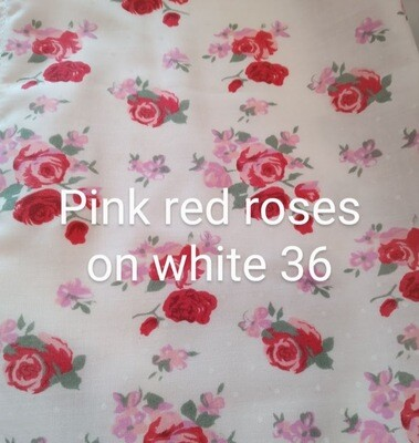 Pink and Red Roses on White 36 Polycotton Triple Layered Face Masks