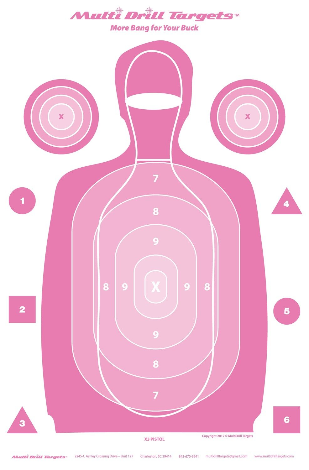 Multi Drill X-3 Outdoor Pistol - Pink - 10 Count