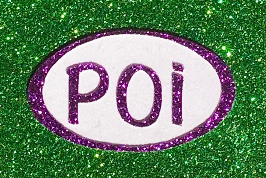 Magnet-Poi Oval Green, Purple & White