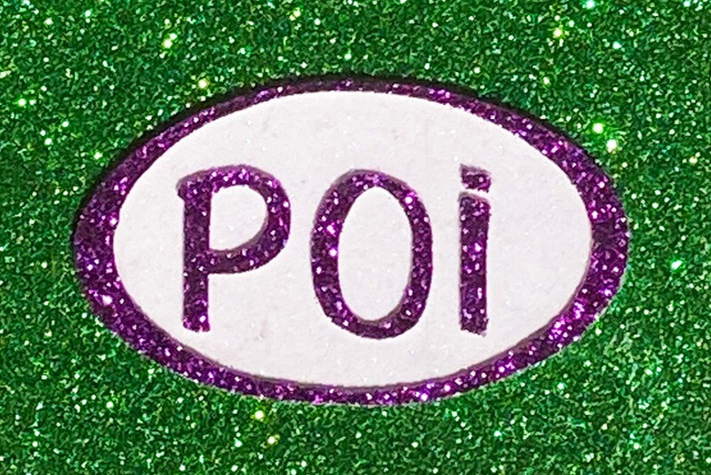 Magnet-Poi Oval Green, Purple & White