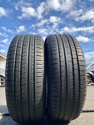 2 USED TIRES 235/55R19 Pirelli SCORPION VERDA A/S RFT WITH 70% TREAD