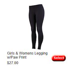Girls & Womens Leggings w/Paw Print