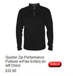 Quarter Zip Performance Pullover w/Paw Youth/Adult/Womens