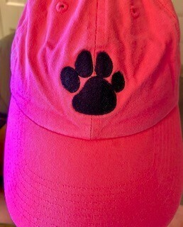 Pink and Black Paw Print Baseball Cap