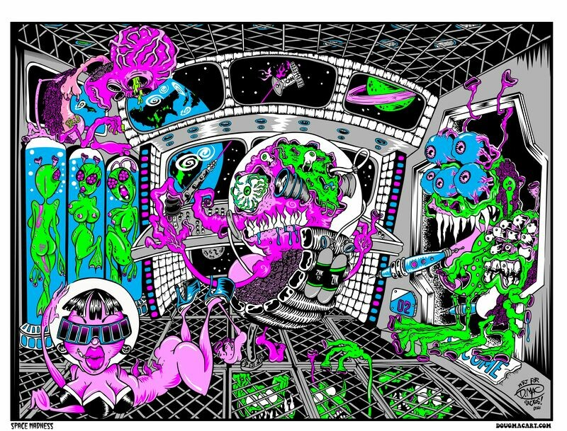 Space Madness Blacklight Silscreened Poster 18x24
