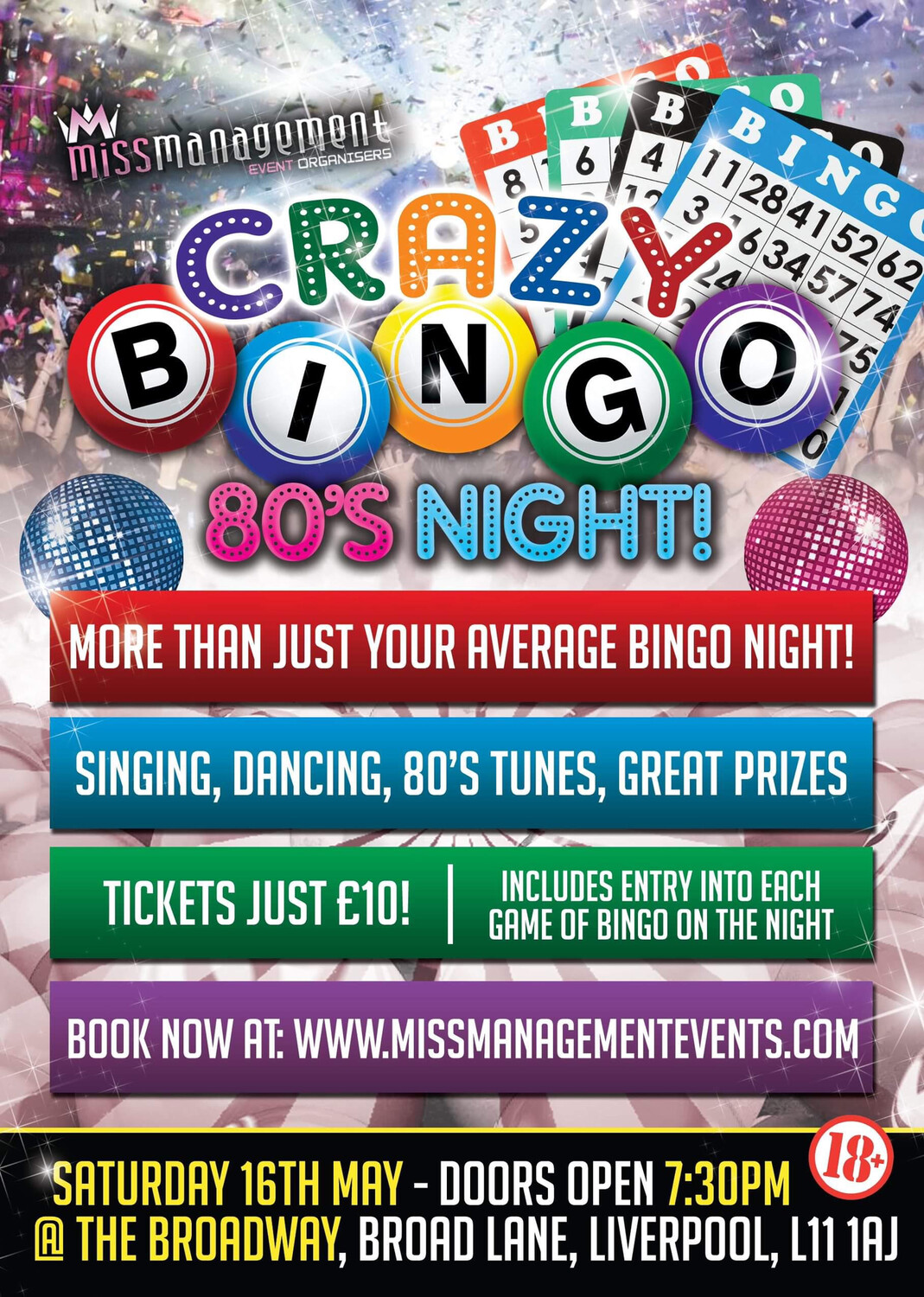(CB008) 'Crazy Bingo' 80's Theme: Table For Eight (Liverpool) Saturday 16th May 2020