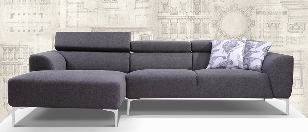 BREDA, L Shape Sofa with Chaise on left side