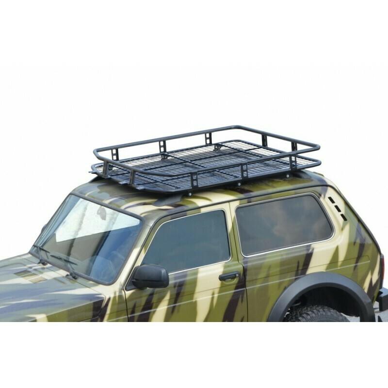 """Багажник «ТРОФИ» с сеткой  (монтаж на заводские рейлинги)  """"Lada 4x4 Bronto"""""""