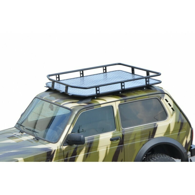 Багажник «ТРОФИ» с алюминевым листом (монтаж на рейлинги) «Lada 4x4» Bronto