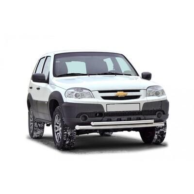 Защита переда «Труба двойная без коробочек»  (Ø=51/Ø=63,5 мм), Chevrolet Niva (03.2009 -)/Lada Niva (07.2020 -) (нержавеющая сталь)