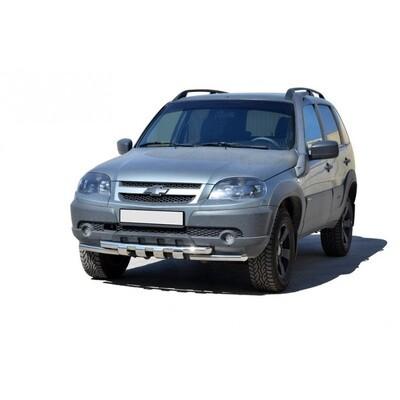 Защита переда «Труба двойная ЛЮКС», (Ø=51 мм), Chevrolet Niva (03.2009 -)/Lada Niva (07.2020 -)  (нержавеющая сталь)