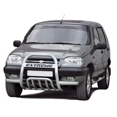 Передок с дополнительной защитой двигателя «Низ с трубой с усами» Chevrolet Niva (- 03.2009)