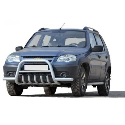 Передок с дополнительной защитой двигателя «Низкий» с усами, Chevrolet Niva (03.2009 -)/Lada Niva (07.2020 -)