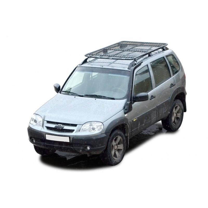 Багажник экспедиционный «Трофи» с сеткой, (на заводские рейлинги) Chevrolet Niva (03.2009 - )/Lada Niva (07.2020 -), Niva Travel