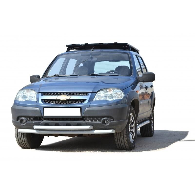 Защита переда «Труба двойная без коробочек», Chevrolet Niva (03.2009 -)/Lada Niva (07.2020 -)
