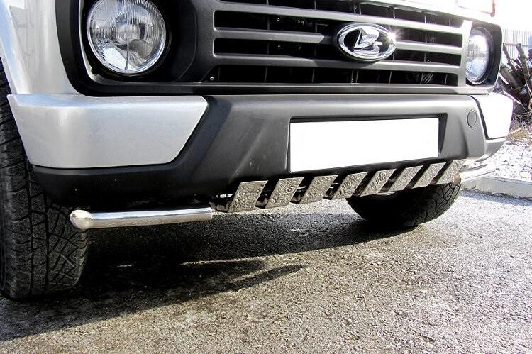 Защита переднего бампера с декоративными элементами (нержавеющая сталь, 42мм )