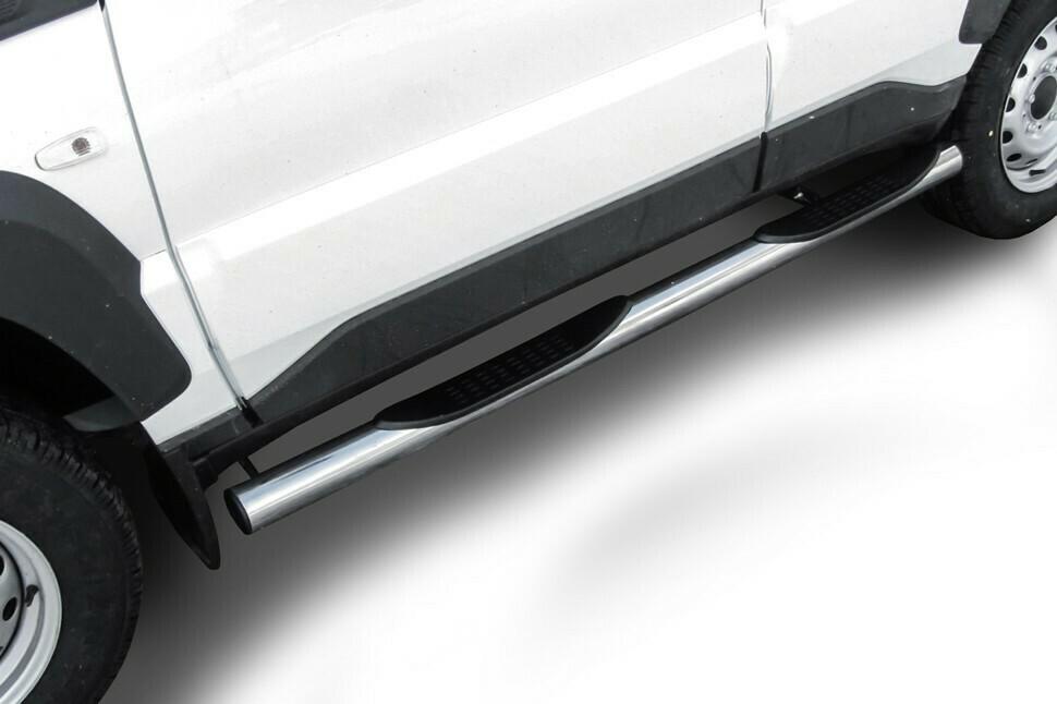 Защита порогов d76 мм с проступями Lada Niva Travel (2021)