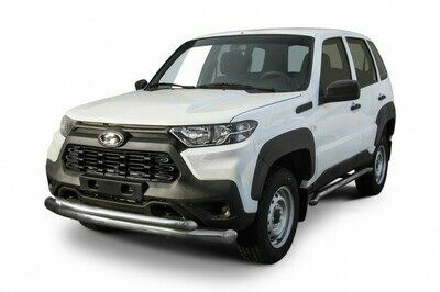Защита переднего бампера d76 мм+d57 мм двойная Lada Niva Travel (2021)