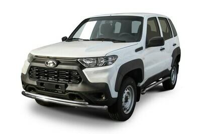 Защита переднего бампера d57 мм+d42 мм двойная Lada Niva Travel (2021)
