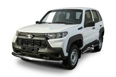 Защита переднего бампера d76 мм Lada Niva Travel (2021)