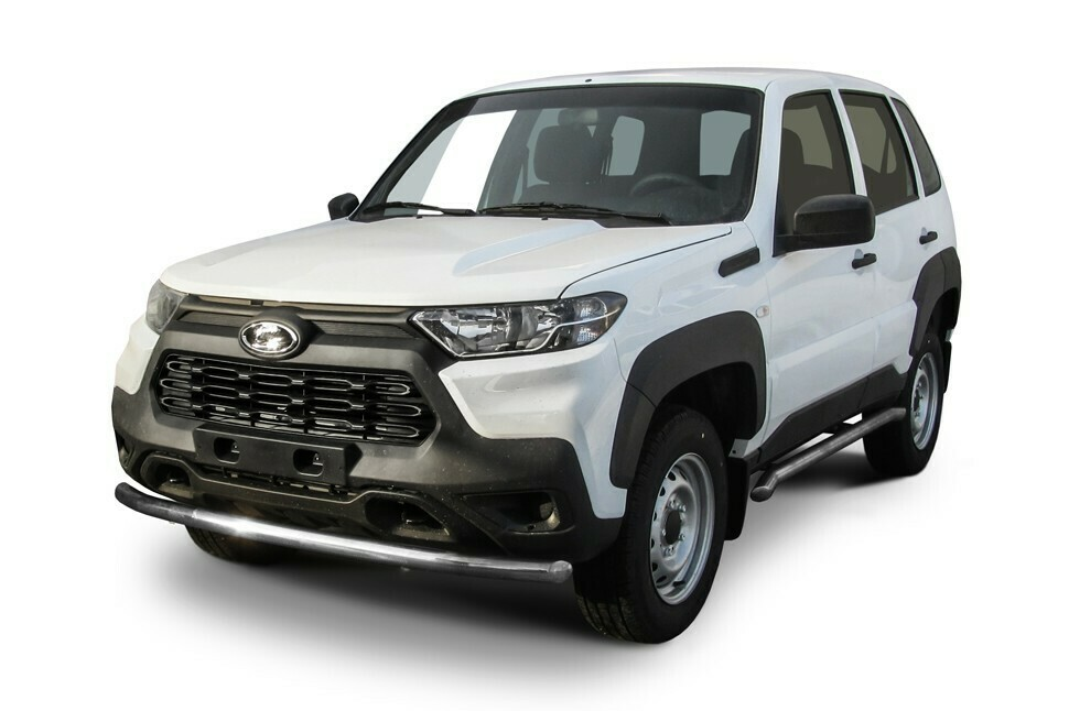 Защита переднего бампера d57 мм Lada Niva Travel (2021)