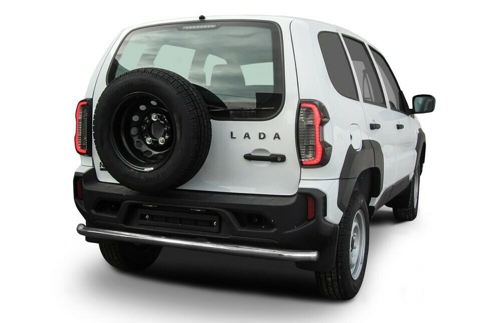 Защита заднего бампера d57 мм длинная Lada Niva Travel (2021)
