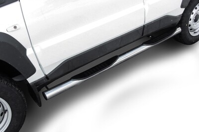 Защита порогов d76 с проступями Lada Niva Travel (2021) нержавеющая сталь