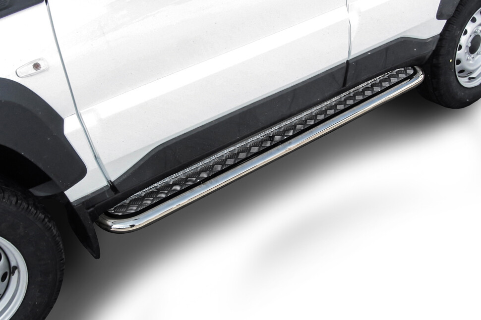 Защита порогов d57 с листом Lada Niva Travel (2021) нержавеющая сталь