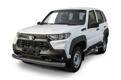 Защита переднего бампера d76 Lada Niva Travel (2021) серебристая