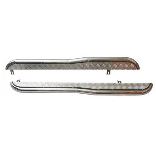 Пороги с алюминиевым листом с перегибом (d63.5), Chevrolet Niva (03.2009 -)/Lada Niva (07.2020 -),  Niva Travel (нержавеющая сталь)