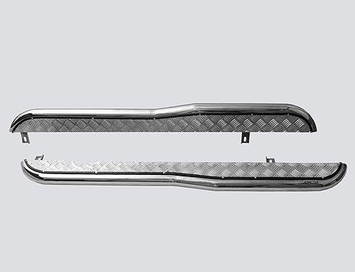 Пороги с алюминиевым листом с перегибом, Chevrolet Niva (- 03.2009) (нержавеющая сталь)