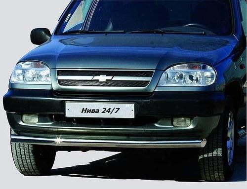 Защита переда «Труба» (Ø=63,5 мм) Chevrolet Niva (- 03.2009) (нержавеющая сталь)