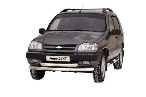 Защита переда «Труба двойная» (Ø=63,5 мм) Chevrolet Niva (- 03.2009) (нержавеющая сталь)