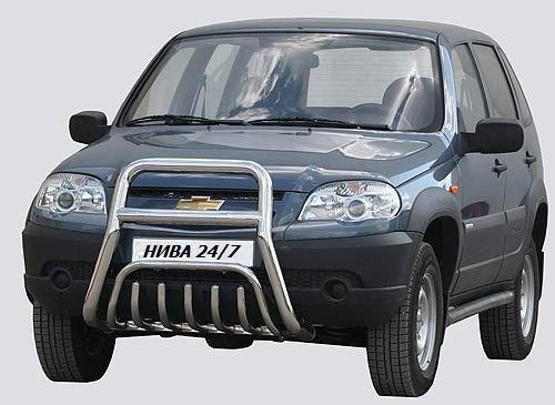 Передок с дополнительной защитой двигателя «Труба сверху» (Ø=63,5 мм), Chevrolet Niva (03.2009 -)/Lada Niva (07.2020 -)  (нержавеющая сталь)