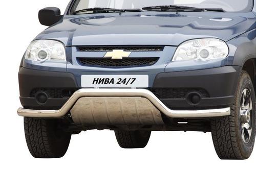 """Защита переда """"Волна"""" с дополнительной защитой двигателя (Ø=63,5 мм), Chevrolet Niva (03.2009 -)/Lada Niva (07.2020 -) (нержавеющая сталь)"""