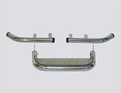 Подножка задняя с алюминиевым листом и защитой заднего бампера «Уголки» , Chevrolet Niva (- 03.2009)