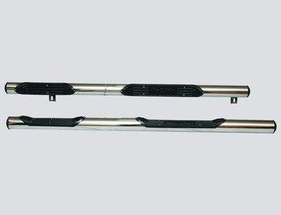 Пороги «Труба с проступью» (Ø=76 мм), 2123 «Шеви» (нержавеющая сталь)