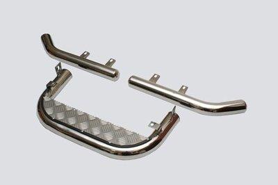 Подножка задняя с алюминиевым листом и защитой заднего бампера «Уголки» (Ø=63.5), Chevrolet Niva (- 03.2009) (нержавеющая сталь)