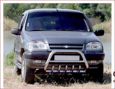 Защита переда с дополнительной защитой двигателя «Низкая» (Ø=63.5), Chevrolet Niva (- 03.2009)