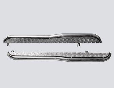 Пороги с алюминиевым листом с перегибом, 2123 «Шеви» (нержавеющая сталь)