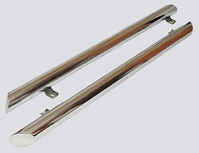 Пороги «Труба Люкс» (Ø=76 мм), 2123 «Шеви» (нержавеющая сталь)