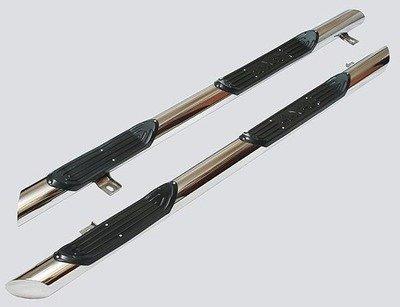 Пороги «Труба Люкс» с проступями (Ø=76), 2123 «Шеви» (нержавеющая сталь)