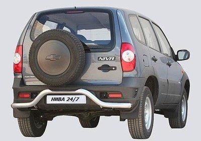 Защита заднего бампера труба с проступью «Волна», Chevrolet Niva (03.2009 -)/Lada Niva (07.2020 -)