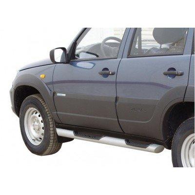 Пороги «Труба Люкс» с проступью,  Chevrolet Niva (03.2009 -)/Lada Niva (07.2020 -)/Niva Travel