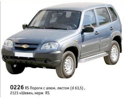 Пороги с алюминиевым листом (Ø=63,5 мм), Chevrolet Niva (03.2009 - )/Lada Niva (07.2020 -) (нержавеющая сталь)