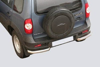 Защита заднего бампера «Уголки Люкс», цельные (Ø=63,5 мм), Chevrolet Niva (03.2009 -)/Lada Niva (07.2020 -) (нержавеющая сталь)