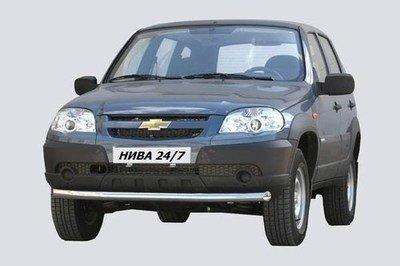 Защита переда «Труба» (Ø=63,5 мм) Chevrolet Niva (03.2009 -)/Lada Niva (07.2020 -) (нержавеющая сталь)