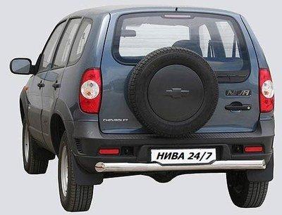 Защита заднего бампера «Труба с проступью люкс» (Ø=76 мм), Chevrolet Niva (03.2009 -)/Lada Niva (07.2020 -) (нержавеющая сталь)