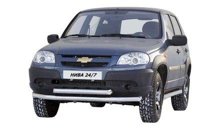 Защита переда «Труба двойная» (Ø=63,5 мм) Chevrolet Niva (03.2009 -)/Lada Niva (07.2020 -) (нержавеющая сталь)