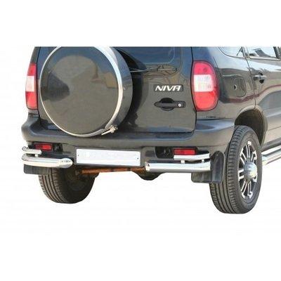 Защита заднего бампера «Уголки двойные» с металлическими заглушками, Chevrolet Niva (- 03.2009)